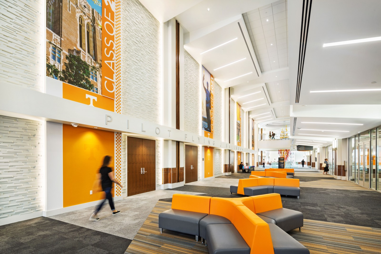 modern orange and gray furniture in the University of Tennessee student union